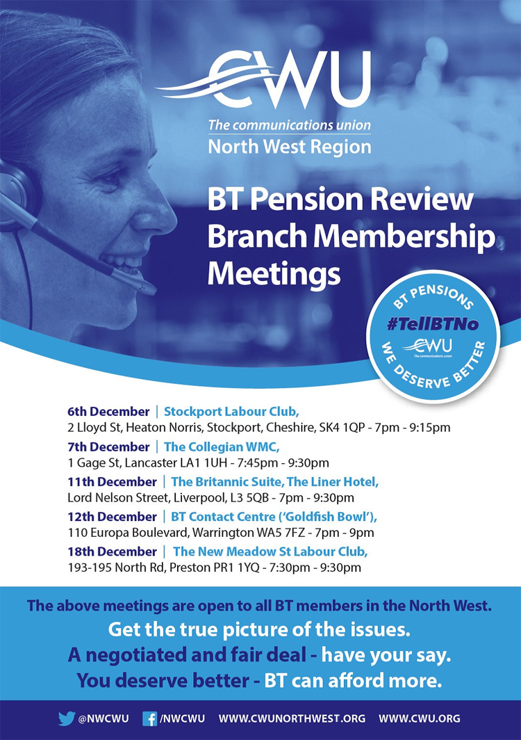 Pic: Schedule of BT Pension meetings