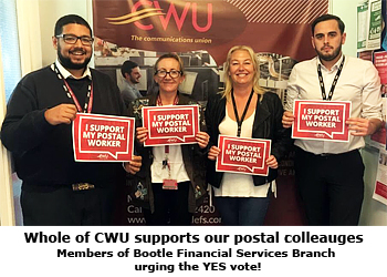 Pic: Bootle FS Branch support Postal workers