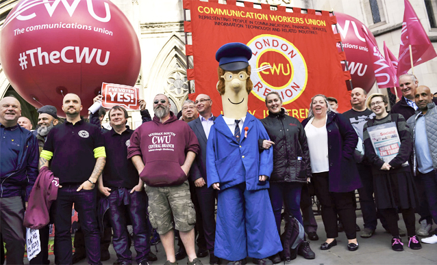 Pic: CWU members outside the High Court
